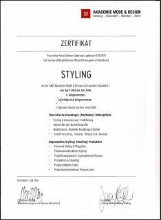 Zertifikat Styling AMD Mode Hochschule Duesseldorf