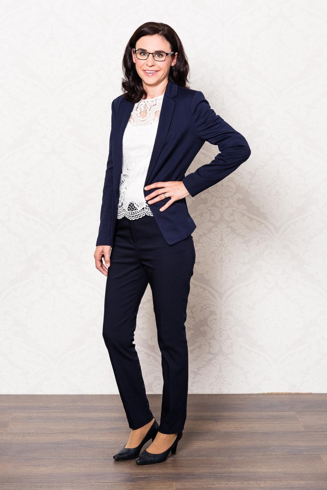 Business Look, Blauer Hosenanzug, elegant